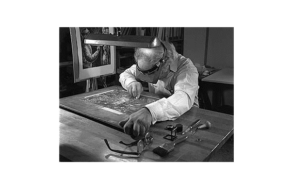 Chaim Goldberg creating a hand-engraved image on a copper plate. Photo by Shalom Goldberg (Source: Wikimedia)