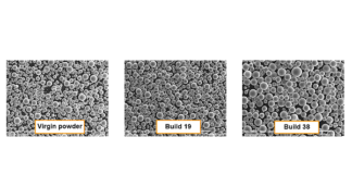 SEM analysis of virgin powder and after builds 19 and 38 in the second experiment